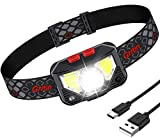 Lampe Frontale, Gritin Torche Frontale LED USB Rechargeable Puissante, Super Lumineux 500 LM, 8...