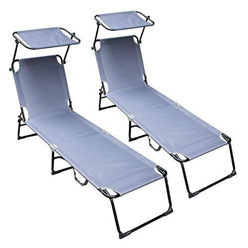 VINGO Sonnenliege 2er Set in grau,Gartenliege,Liegestuhl ist klappbar,Gartenmöbel,Strandliege aus Stahl,Relaxliege für den Garten,Terrasse und Balkon,189x55x27cm