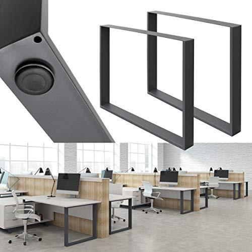 ECD Germany 2 Stück Tischgestell - 80 x 72 cm - aus pulverbeschichteter Stahl - Dunkelgrau - Industriedesign - Tischuntergestell Tischbeine Set Tischkufen Tischfüße