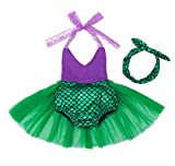 HenzWorld Princess Romper Mermaid Dress Up Costume Birthday Party Role Pretend Cosplay Fish Scale Headband Patchwork Lace Halter Tops Outfits Purple Green Little Baby Girls 6-12 Months