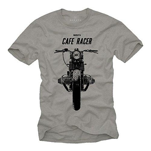 MAKAYA Cafe Racer - Camisetas de Motos Clasicas Hombre - Gris L