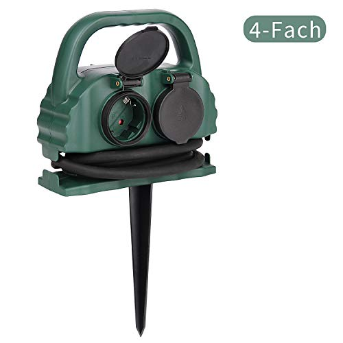 4-fach Gartensteckdose IP44 mit Tragegriff und Erdspieß,wasserfeste Außensteckdose mit H07RN-F Gummi Kabel (1,5m,grün)