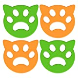 Pet Hair Remover for Laundry 4 Pack Laundry Hair Catcher Washing Machine Lint Remover Reusable - Pet Fur Laundry Catcher Hair Remover for Laundry Bedding Clothes (Yellow)