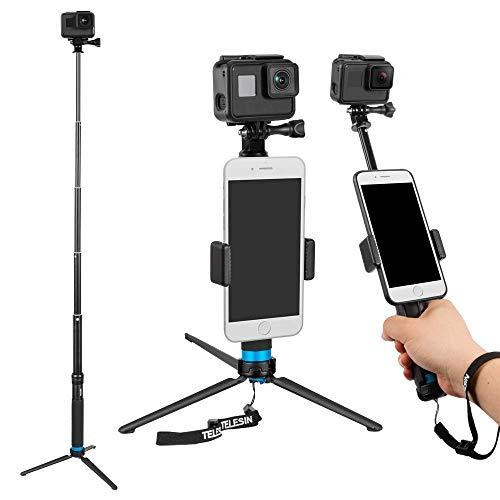 TELESIN 6-in-1 in lega di alluminio Handheld estensibile tasca portafoglio Monopod Selfie Stick con mini treppiede e treppiede e clip telefonica per Apple, smartphone Android, fotocamera Gopro - Nero