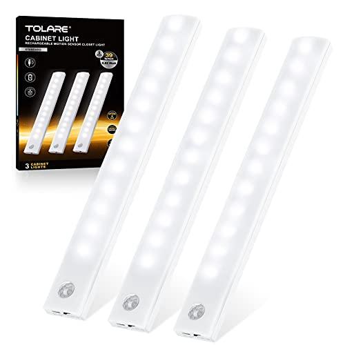 Tolare Luce Armadio, Luci Notturne per Armadio con Sensore di Movimento, Luce a LED USB Ricaricabile con Striscia Magnetica Adesiva, LED Armadio Adatte per Sottopensile Scale Corridoio- Bianco(3 Pack)