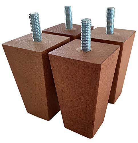 IPEA 4X Piedini per Mobili e Divani in Legno Quadrati Set di 4 Gambe per Poltrone e Armadi Piedi Masselli Colore Noce, Altezza 90 mm