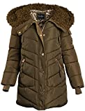 Jessica Simpson Women's Nylon Puffer Bubble Jacket with Fur Lined Oversized Hood (Olive, Large)'