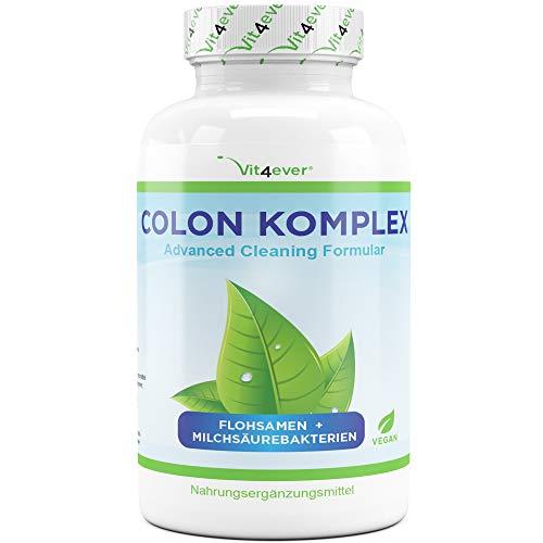 Vit4ever® Colon Komplex - Natürliche Darm Kapseln mit Flohsamenschalen, Milchsäurebakterien (Acidophilus), Glucomannan, Vitamin C, Calcium, Inulin - Hochdosiert - Vegan