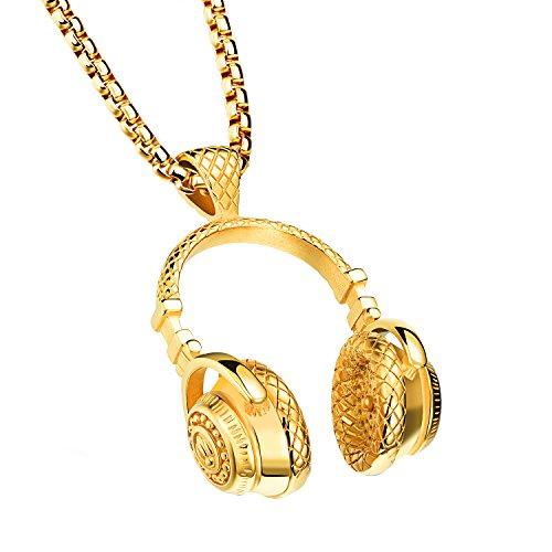 OIDEA Ciondolo da uomo in acciaio inox con collana Biker Punk Rock DJ musica ciondolo auricolare con catena da 61 cm, oro argento e Acciaio inossidabile, colore: gold, cod. O00600098-DE