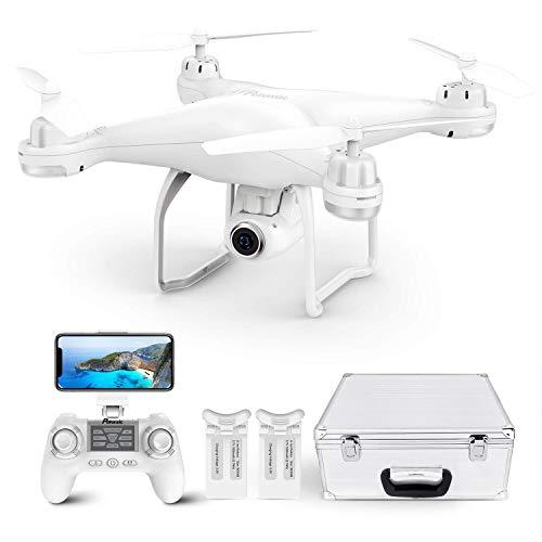 Potensic Drone GPS T25 FPV Hélicoptère Caméra 120° Grand Angle Réglable HD 2K Télécommande 9-axe Gyro Fonction ( Deux Batterie+Valise de Transport)