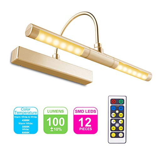 HONWELL Bilderleuchte LED Verstellbare LED Wandleuchte 3 Beleuchtungsmodi AA Batterie Betrieben mit Fernbedienungen 180 ° Schwenkarm, Dimmbare Anzeigelampe mit Timer für Spiegelanstrich, Gold