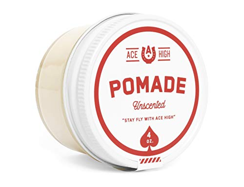 Ace High Unscented Pomade, Strong Hold, Natural Shine, Water Based, Hand Crafted, 4oz