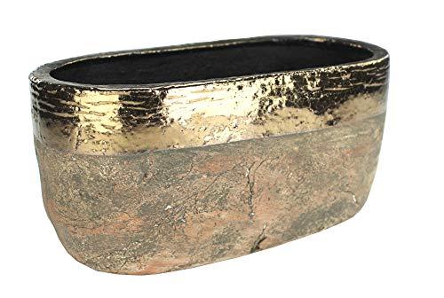DARO DEKO Pflanzschale XL aus Keramik - braun mit Goldrand