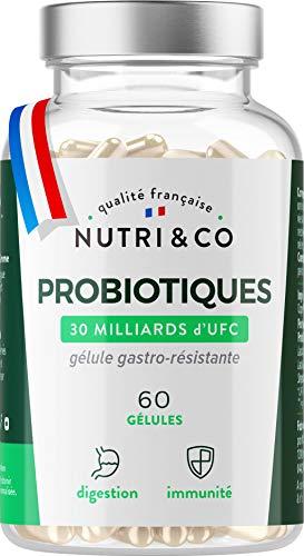 Probiotiques Flore Intestinale | 30 à 60 Milliards d'UFC par Dose (2 à 4/j) | Souches Bactériennes Humaines Garanties Vivantes | 60 Gélules Végétales Gastro-Résistantes Made in France | Nutri&Co ®