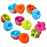 To encounter 24Pcs Silicone Molds Silicone Cupcake Baking Cups Silicone Donut Baking Pan Set Nonstick2 3/4 inches Silicone Donut Mold Muffin Jello Bagel Pan Oven- Microwave- Dishwasher Safe