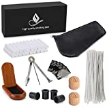Joyoldelf Smoking Pipe Accessories with Leather Pipe Bag, Wooden Stand Holder, 3-in-1 Pipe Scraper, 50 Pipe Cleaners & 20 Pipe Filters, 4 Pipe Bits and Other Tobacco Pipe Tools, Bonus a Gift Box