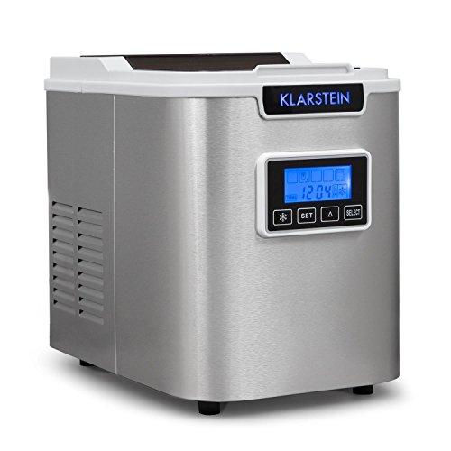 Klarstein Icemeister - Ice Maker, Macchina del ghiaccio, 12 kg/24 h, 150 Watt, 3 dimensioni del cubo, preparazione in 10-15 min, 1,1 litro serbatoio acqua, Timer, Display LCD, LED, bianco