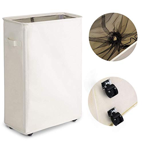 Chrislley Slim Rolling Laundry Hamper with Wheels Thin Laundry Hamper Narrow Clothes Hampers Tall Dirty Laundry Hamper Basket (Slim 22 Inches, Beige)