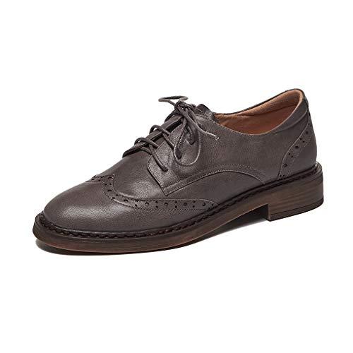 ANNIESHOE Blucher Mujer Cuero Cordones Derby Oxford Zapatos con Tacon Primavera Otoño Gris 35CN 35EU 22.5cm