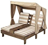 KidKraft Wooden Outdoor Double Chaise Lounge with Cup Holders, Kid's Patio Furniture, Gift for Ages 3+, Espresso with Oatmeal and White Striped Fabric, Gift for Ages 3-8