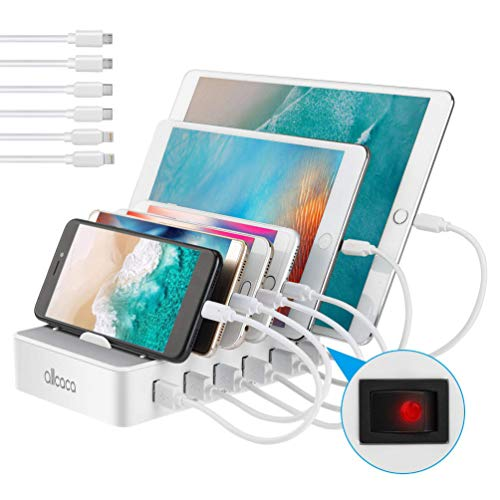 allcaca USB Ladestation 6-Port Dockingstation für Smartphone Tablet Android IOS Power Bank, 6 Kabel Included Weiß