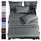 Shilucheng Queen Size 6-Piece Bed Sheets Set Microfiber 1800 Thread Count Percale 16 Inch Deep Pockets Super Soft and Comforterble (Queen,Dark Grey)