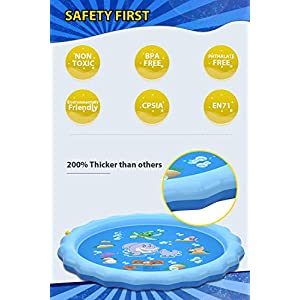"QPAU (Upgraded 2020 Version) Sprinkler for Kids Dogs, 68"" Sprinkle and Splash Play Mat , Kiddie Baby Shallow Pool,Outside Toys Water Toys for Kids, Outdoor Toys for Toddlers Age 3-5 (Blue)"