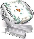 FOXBOXX® Brotdose Edelstahl | Premium | Mini 800ml | GRATIS 2.Trenner Auslaufsicher 3 Fächer/plastikfrei nachhaltig | Lunchbox Brotbox Vesperdose Brotbüchse Brotzeitbox | Kind Schule Kindergarten