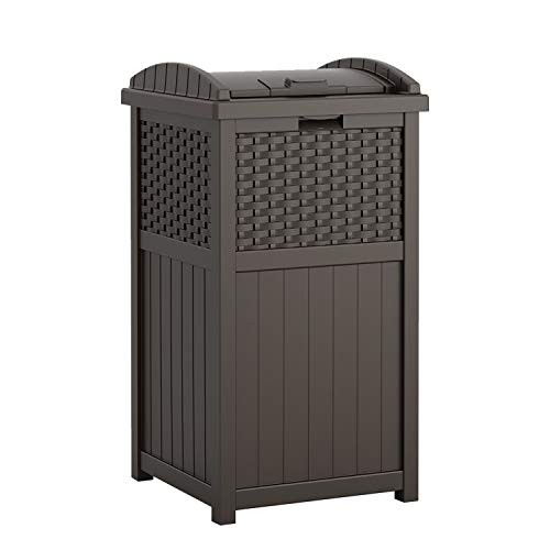 Suncast 33 Gallon Hideaway Can Resin Outdoor Trash with Lid Use in Backyard, Deck, or Patio, Brown