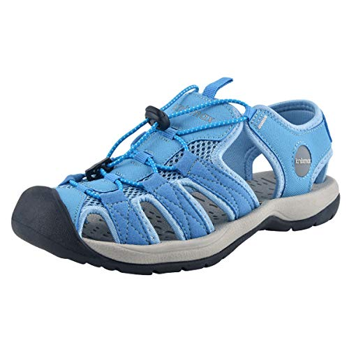 Knixmax-Sandalias de Senderismo Verano para Hombre Mujer Verano Exterior Senderismo Ligeras Antideslizantes Zapatillas Trekking Deportivas Casuales Sandalias de Playa, W-Azul 36
