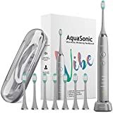 AquaSonic VIBE series Ultra Whitening Electric Toothbrush - 8 DuPont Brush Heads & Travel Case Included - Sonic 40,000 VPM Motor & Wireless Charging - 4 Modes w Smart Timer - Charcoal Metallic