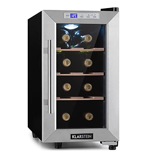 KLARSTEIN Reserva Uno - Frigorifero per Vini, Cantinetta, Temperatura: 11-18 C, 26 dB, 3 Ripiani in Legno, Luce LED, Protezione da UV, Posizionamento Libero, Acciaio Inox, 23 L/8 Bottiglie, Nero