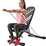 Merax Adjustable Utility Weight Bench with Resistance Bands, Foldable Incline/Decline Exercise Workout Bench for Full Body Workout, Home Gym Equipment (Black & Gray)