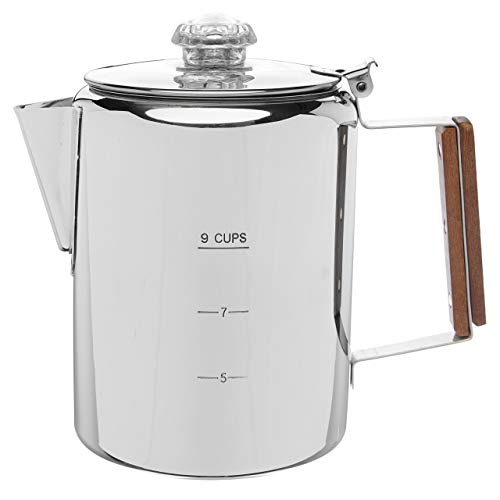 COLETTI Bozeman Coffee Pot | Coffee Percolator | Stainless Steel Coffee Maker for Camping or Stovetop – 9 CUP
