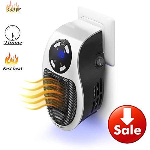 Radiateur Soufflant Electrique, Fast Heater, Chauffage Soufflant Salle de Bain, portable 500 W avec Affichage numérique de la minuterie réglable
