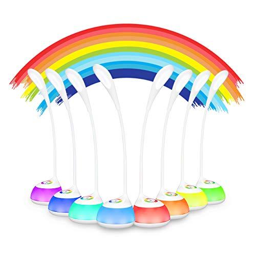 VicTsing LED Schreibtischlampe 5W Dimmbar für Kinder, mit Stimmungslicht und Touch-Steuerung, 3 Helligkeitsstufen und RGB 256 Farblich für Kinderzimmer