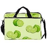 Maletín de lona para portátil de 14,5 pulgadas, diseño de pétalos verdes y limón, con correas desmontables