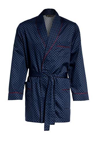 LEVERIE Elegante Vestaglia Corta Uomo in Cotone Stile Giacca da Smoking con Cintura e Tasche Made in EU (4XL, Blu/Rosso minicerchi)