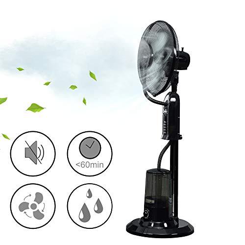 [in.tec] Nebelventilator Standventilator 125 cm Luftkühler 75W Lüfter Windmaschine mit Sprühnebel Klimagerät Wasser Ventilator