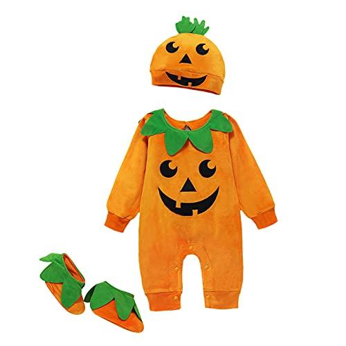 Dazzerake 3 PCS Vestiti di Halloween Unisex Neonate Ragazzi Manica Lunga Pagliaccetto Tuta Zucca Tuta Cappello Calzini Set 0-24M (Arancione, 12-18 Mesi)