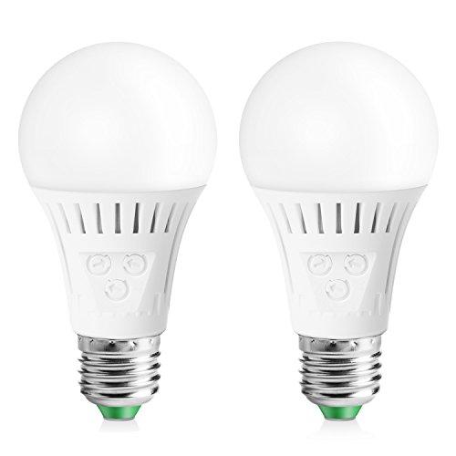 Elrigs E27 LED Lampe mit Bewegungsmelder und Dämmerungssensor, 7W ersetzt 60W, Reichweite, Zeit- und Dämmerungsschwelle einstellbar, Warmweiß (3000K), 2er Pack