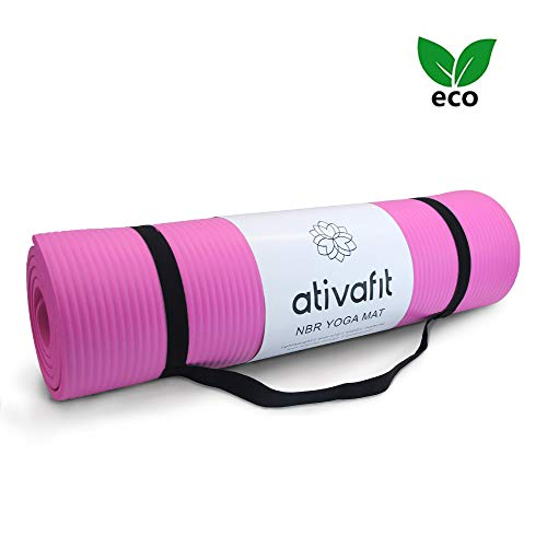 ATIVAFIT Phthalatfreie Yogamatte - rutschfest und gelenkschonend Sportmatte für Yoga Pilates Sport Fitnessmatte Gymnastikmatte mit Tragegurt Pilatesmatte 183 * 61 * 1 cm Trainingsmatte (Pink - 2)