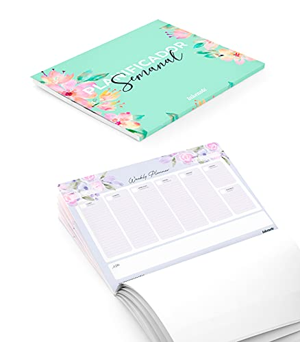 Takenote Agendas - Planificador Semanal Perpetuo Bloom - 31,5 x 23 cm - 56 hojas - Encolado Inferior