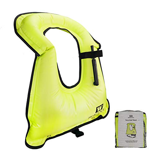 WACOOL Inflatable Snorkel Diving Swimming Scuba Vest Jacket for Adult Youth Kids (Kids, Neon Green)