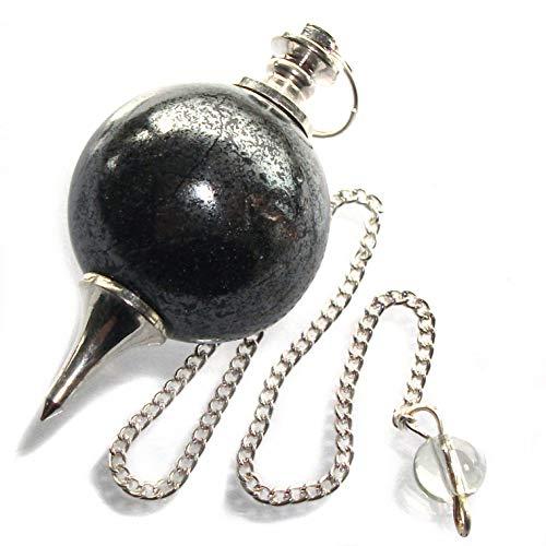 Péndulo esférico para radiestesia y sanación en Cristales de Piedra Semipreciosa Genuina (Hematita)