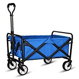 """WHITSUNDAY Collapsible Folding Garden Outdoor Park Utility Wagon Picnic Camping Cart 5"""" Solid Rubber Wheels (Compact Size, Blue)"""