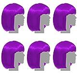 Pack de 6 Perruques colorées – Violette - Décorations et Accessoires pour soirée, fête déguisée (EVJF, Jeune diplômée, Future mariée, Halloween, Anniversaire, départ à la Retraite…)