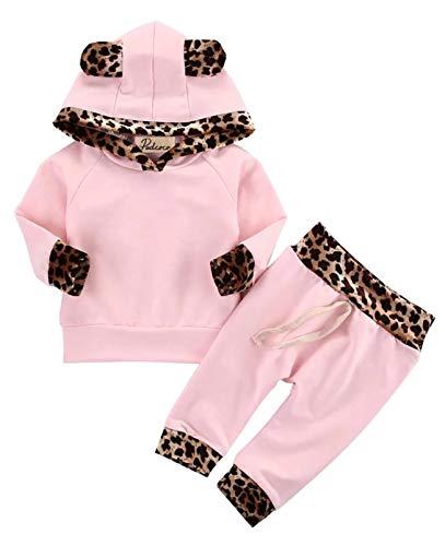 Kfnire T-Shirt Top + Pantaloni Completi per Bambina con Felpa Rosa Leopardata Neonata (0-3 Mesi,...