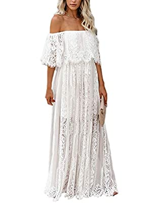Material: women's v neck short sleeve dress is made of lace fabrication, is soft and comfy to wear Design: with deep v neck, short sleeves, floral lace fabrics and maxi long length cut Feature: this maxi party prom dress with high quality lace fabric...