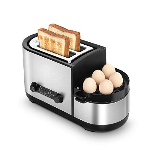 Tostapane, tostapane 5 in 1 con scaldabagno e bracconiere, tostapane a 2 fette con mini padella,...